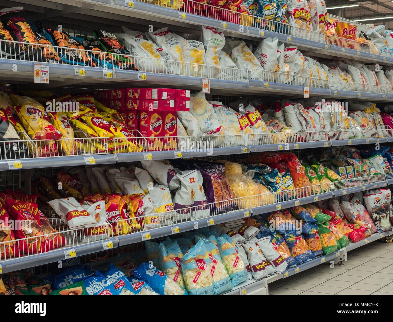 Rimini Italy March 21 2018 Shelves Of Chips Bags To Shopping