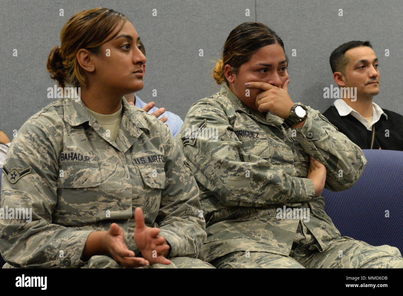 An Airman Gets Emotional During A Hispanic Heritage Month Celebration At New