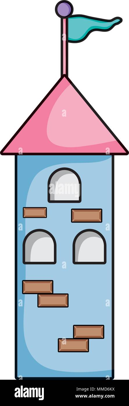 medieval tower building with flag and windows - Stock Vector