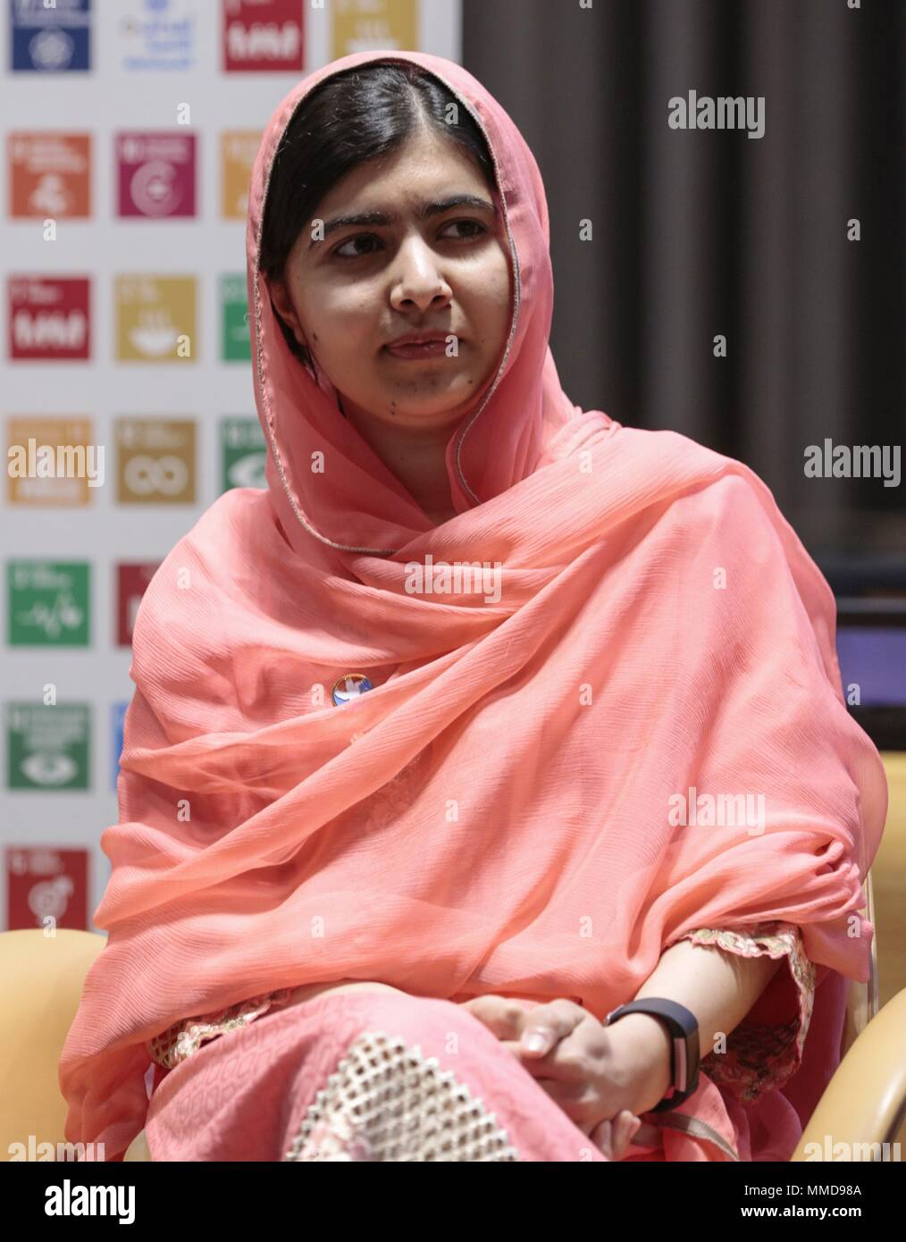 United Nations, New York, USA, 10 April 2017 - Secretary-General Antonio Guterres designated Malala Yousafzai, global advocate for girls education and the youngest-ever Nobel Peace Prize laureate, as a United Nations Messenger of Peace with a special focus on girls education, at a special ceremony today at the UN Headquarters in New York. Photo: Luiz Rampelotto/EuropaNewswire | Verwendung weltweit /MediaPunch ***FOR USA ONLY*** - Stock Image