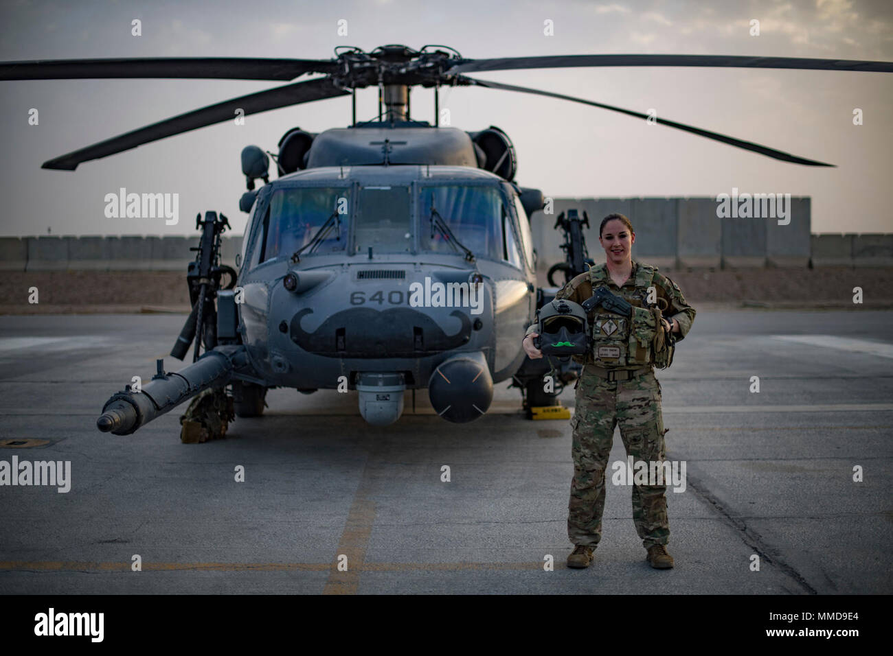U S Air Force Capt Victoria Snow Hh 60g Pave Hawk Pilot Assigned To The 33rd Expeditionary Rescue Squadron Enters The Aircraft In Front Of Her Aircraft