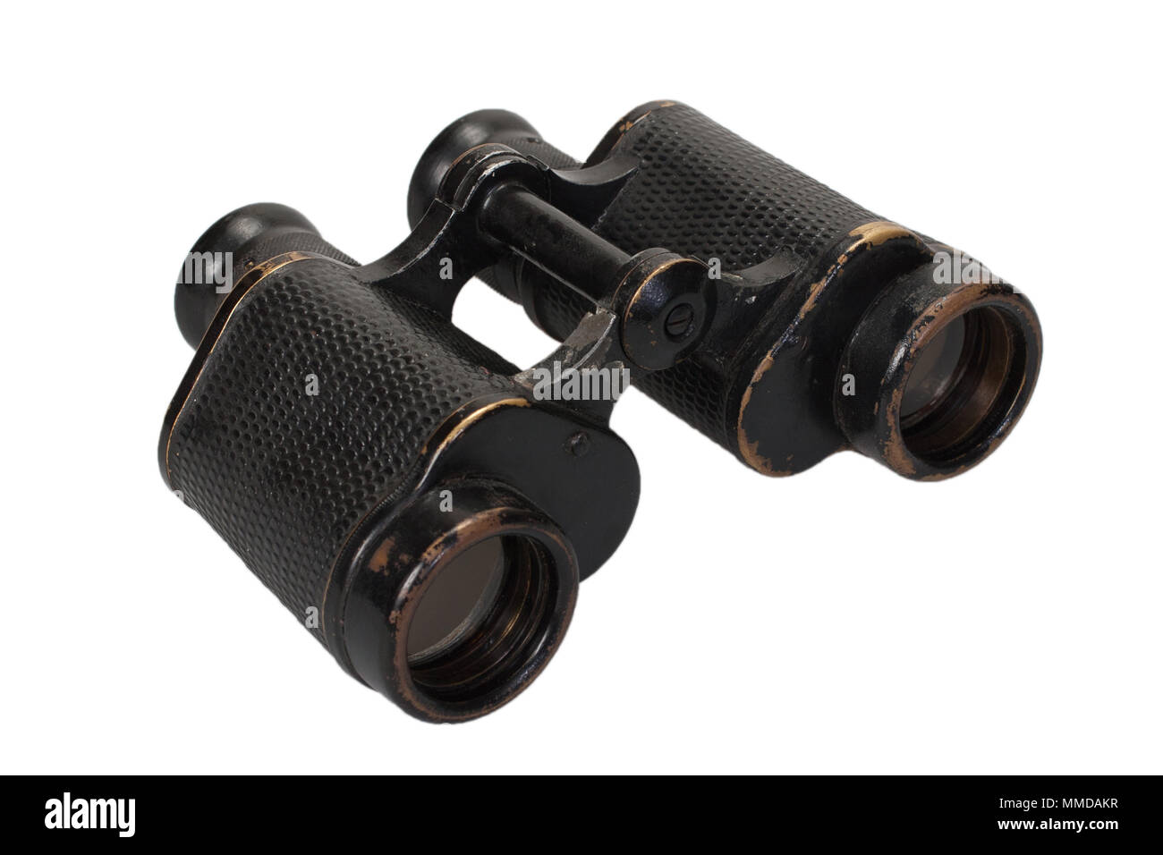 ww2 period binoculars on white background - Stock Image