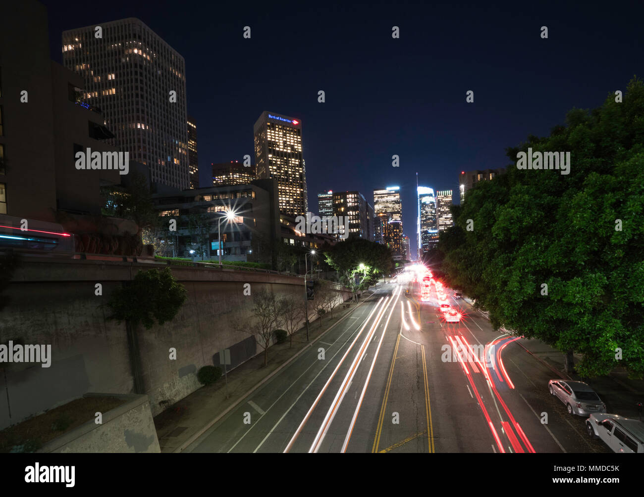 Downtown Los Angeles night traffic , long exposure with light trails through downtown streets Stock Photo
