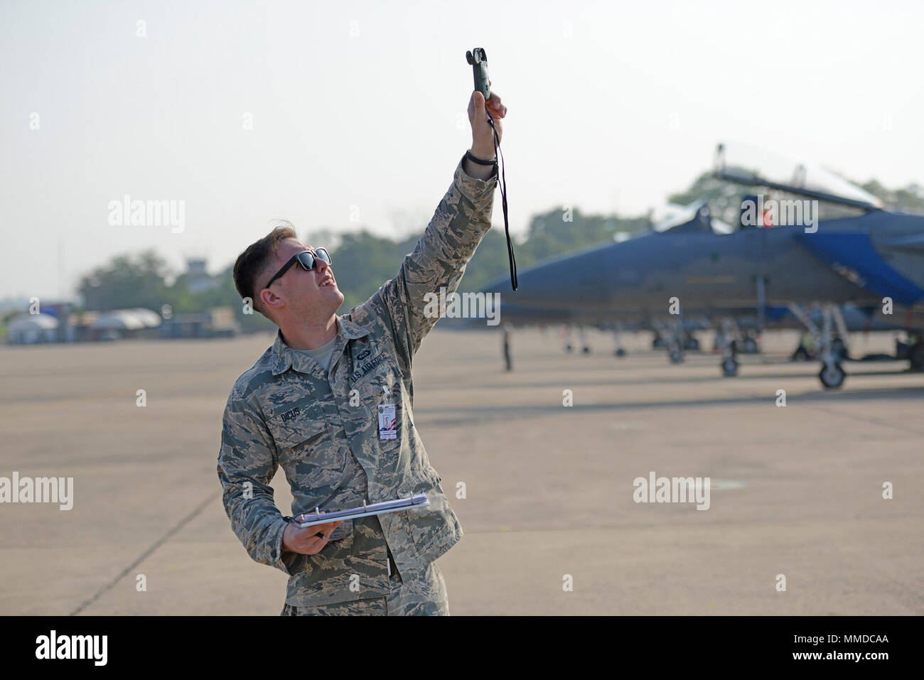 U S  Air Force Senior Airman Corbin Dicus, a weather forecaster with