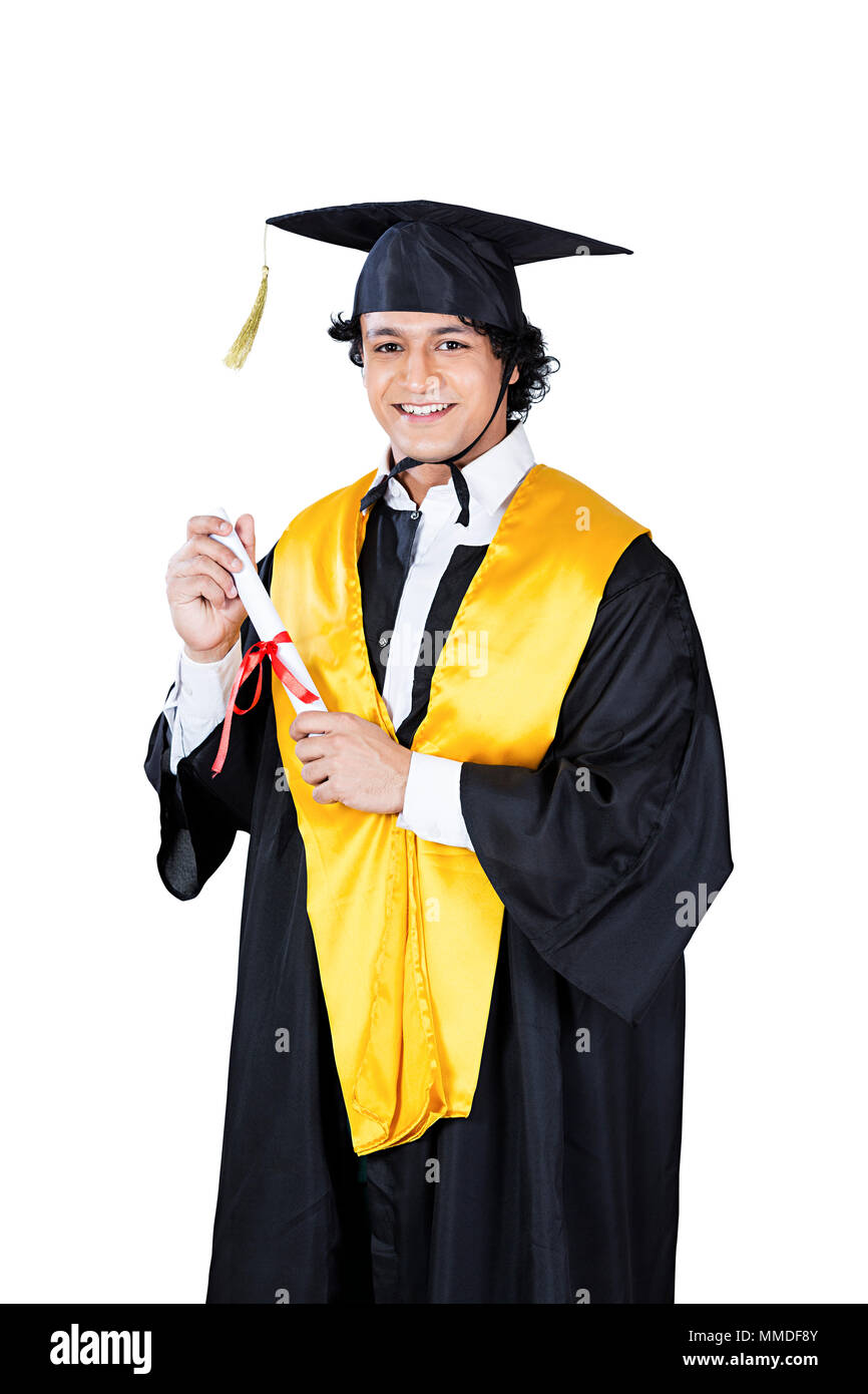 One College Boy student in Graduation-gown and cap Holding Diploma ...