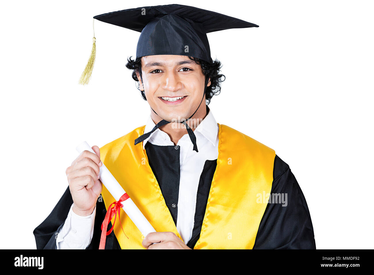 One university Male student graduation gown and cap holding Degree ...