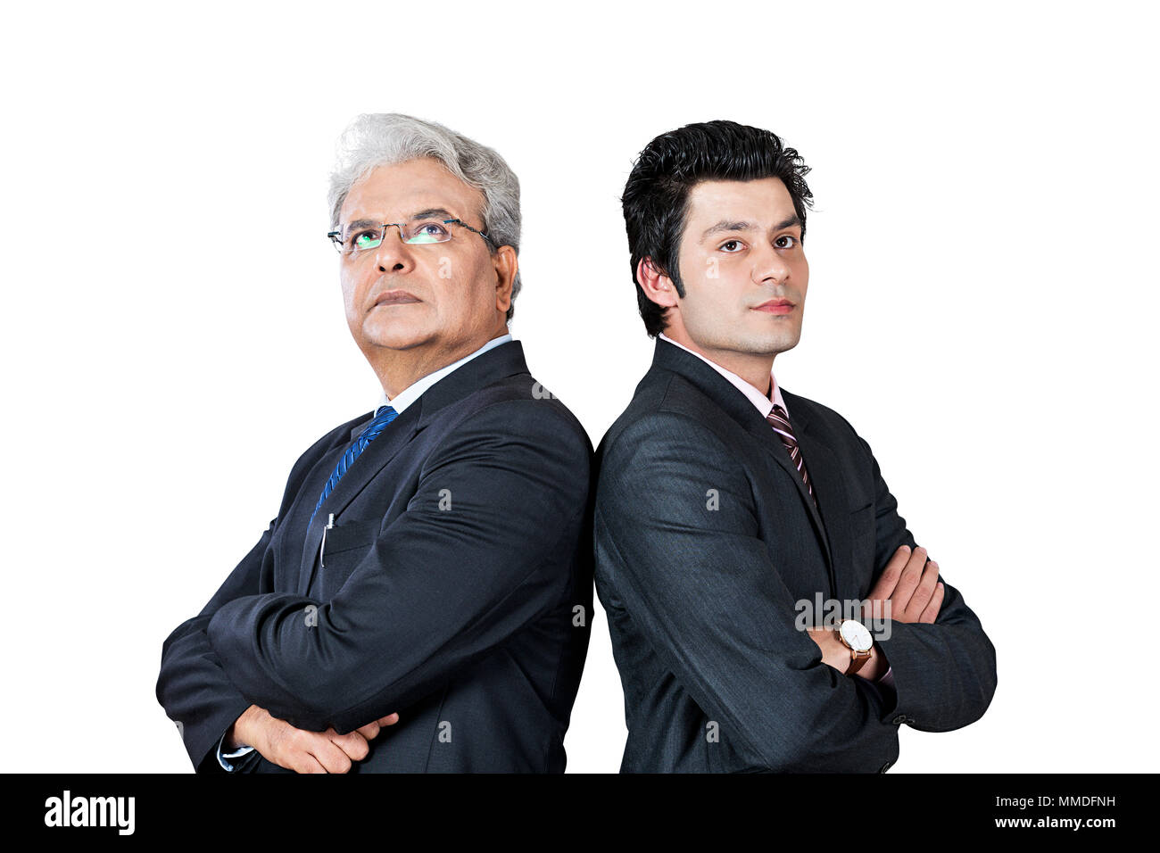 Serious Two Business male Colleague s Crossed-Arms Standing Pose Back-To-Back Concentration - Stock Image