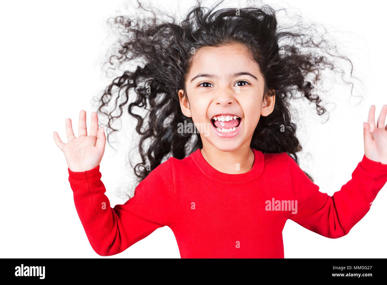 Happy Kid Girl Having Fun Cheerful Playful Shouting White Background - Stock Image