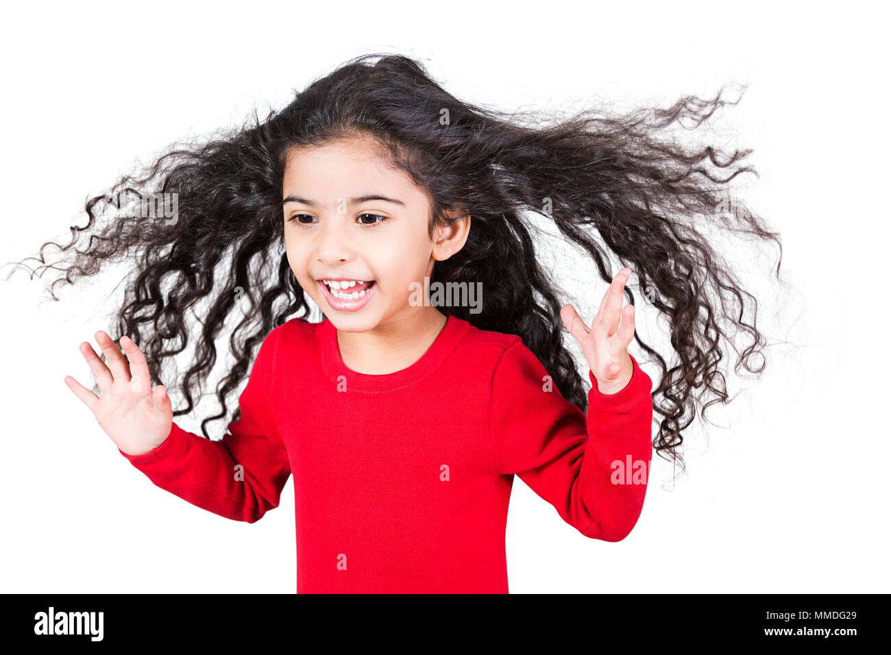 Laughing One Kid Girl Tousled Hair Having Fun Cheerful Enjoying - Stock Image