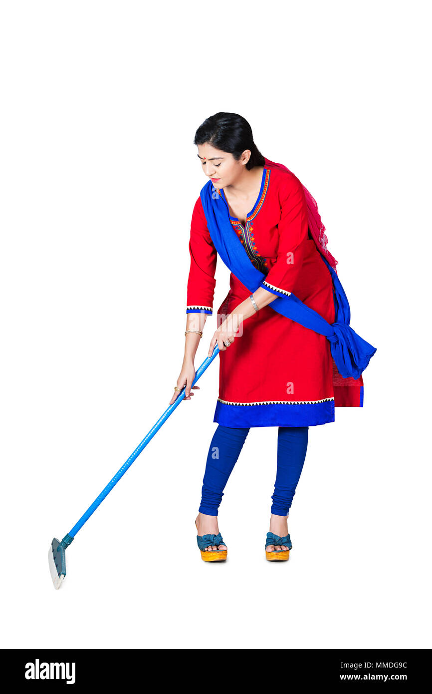 One Adult Woman Housewife Wiping a floor, a wiper, cleaning Stock Photo