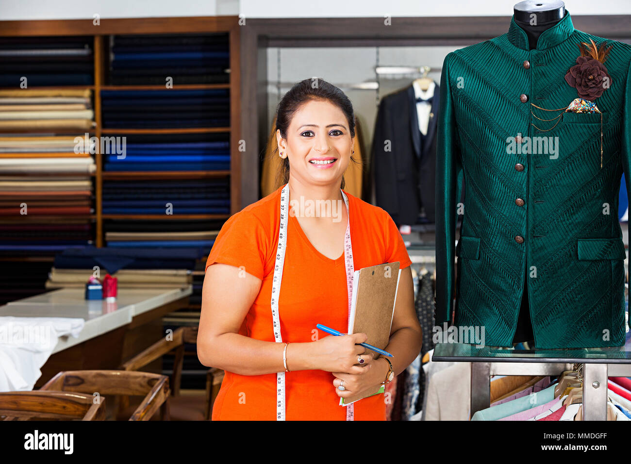 One Boutique Tailor Fashion Designer Working In Workshop Stock Photo Alamy