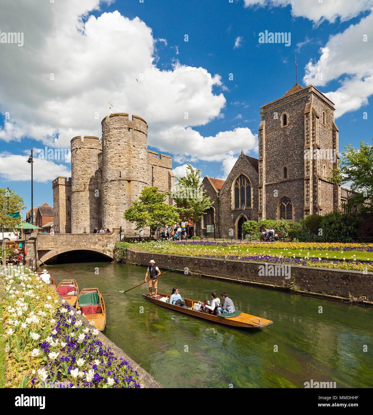 Canterbury scene with Westgate Towers Holy Cross Church and the river Stour. - Stock Image