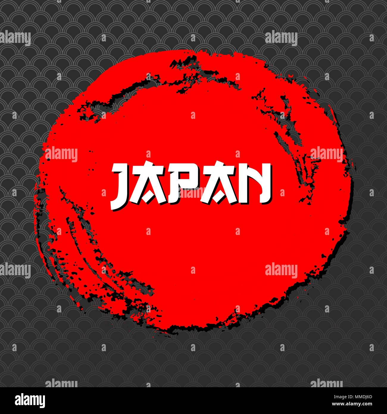 Japan Red Sign Vector. Grunge Red circle Stamp On Black Background. Chinese Ink Or Rubber Textured Sun Poster Illustration. Stock Vector