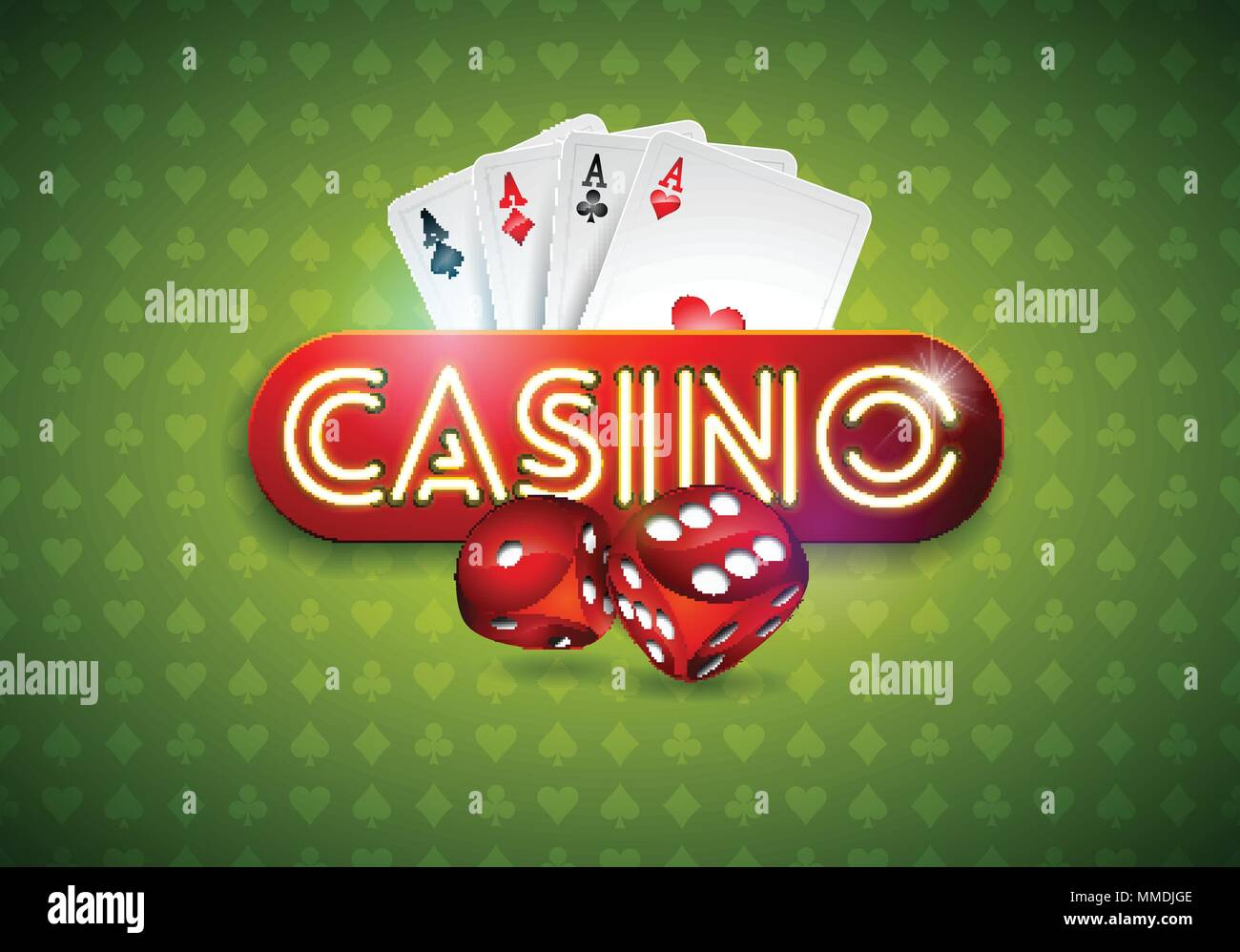 Vector Illustration On A Casino Theme With Shiny Neon Light Letter And Poker Cards On Green Background Gambling Design For Greeting Card Poster Invitation Or Promo Banner Stock Vector Image Art