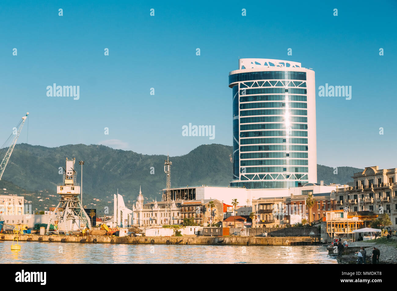 Port Dock On Sunny Evening At Sunset Or Sunrise Time In Batumi, Adjara, Georgia - Stock Image