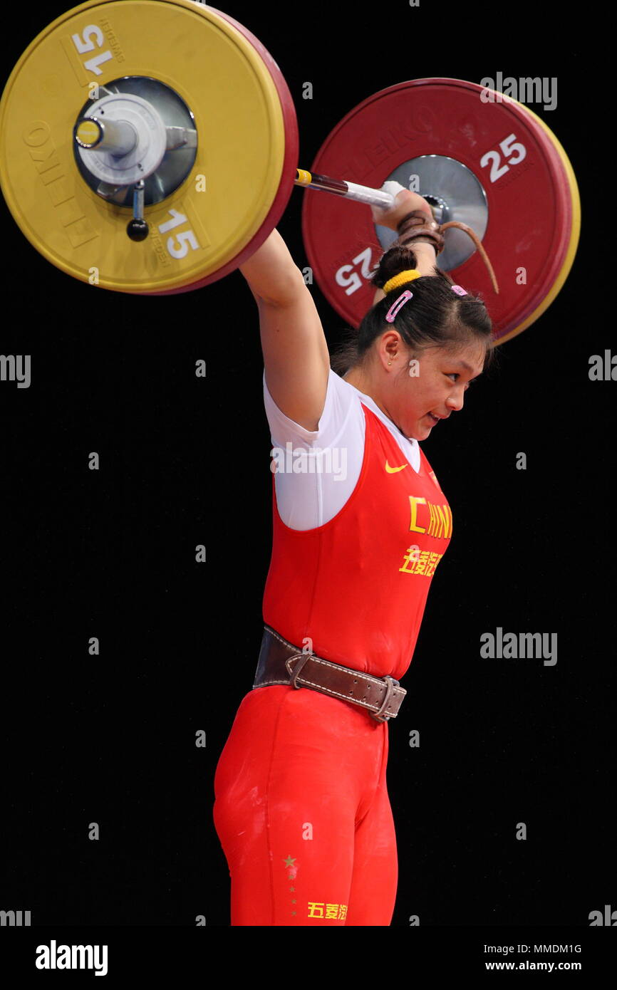 Yue Kang Of China Competes In The Women S 69kg Weight Lifting Program During The London Prepares Olympic 2012 Test Event At The Excel Arena London 10 December 2011 Stock Photo Alamy