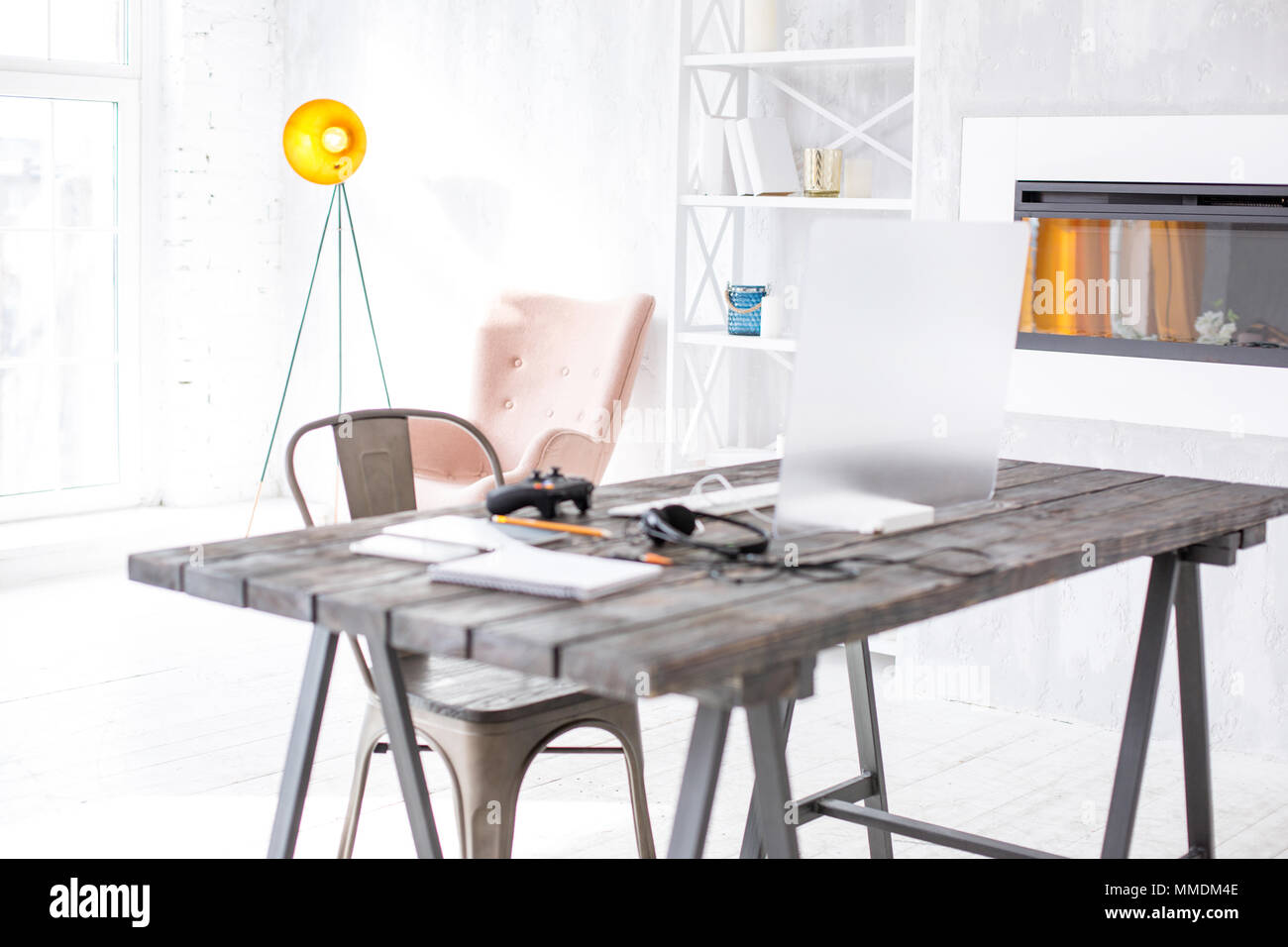 Hi-tech workplace of gamer set up in the living room Stock Photo ...