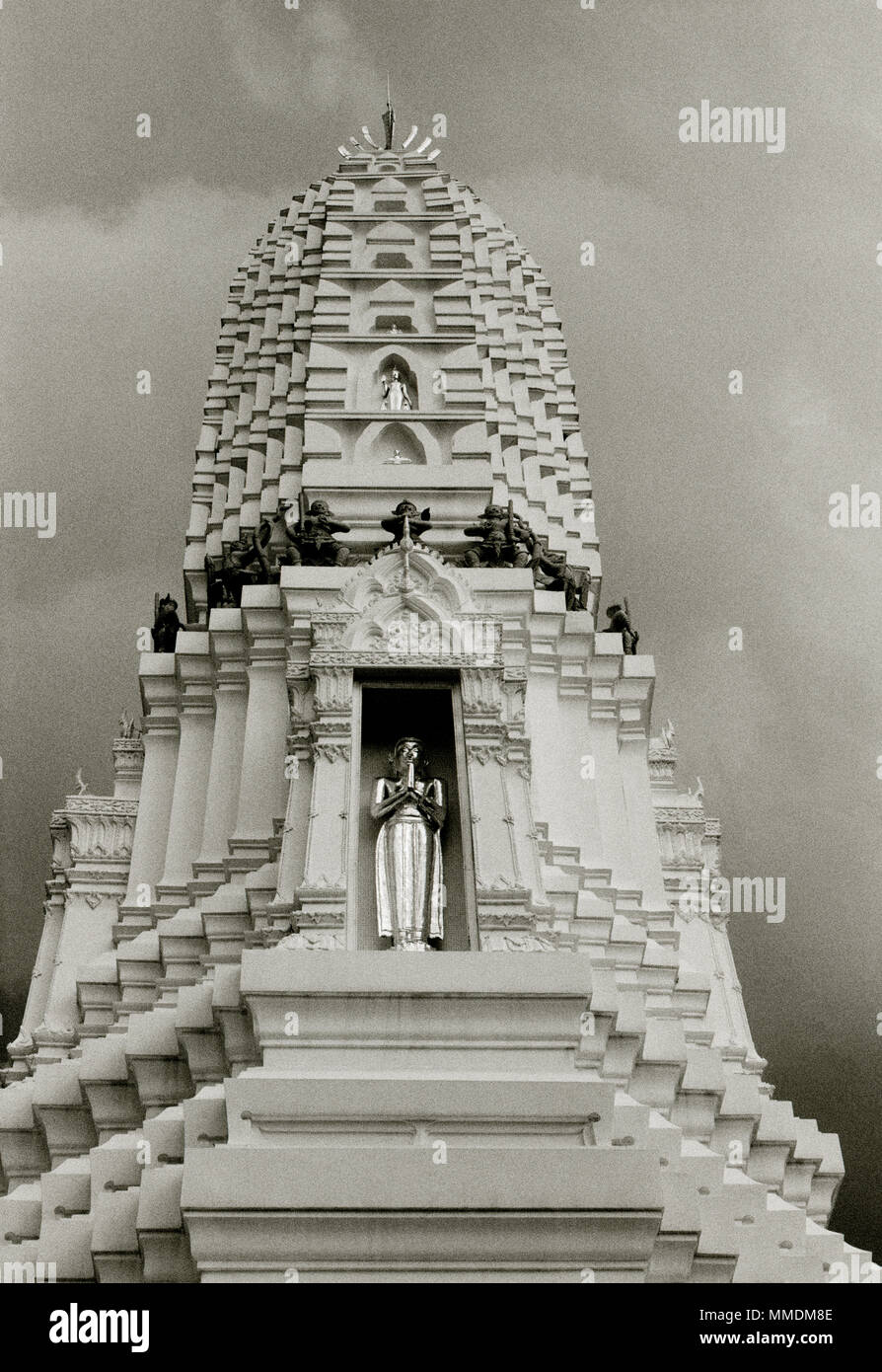 Pagoda at the Buddhist Temple of the Bell - Wat Rakhang Kositaram Woramahavihan in Bangkok in Thailand in Southeast Asia Far East. Buddha Buddhism - Stock Image