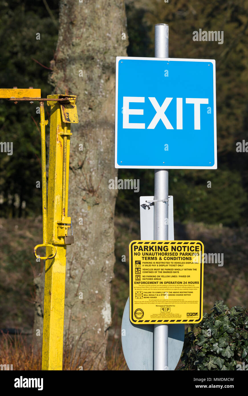 Car park exit sign. - Stock Image