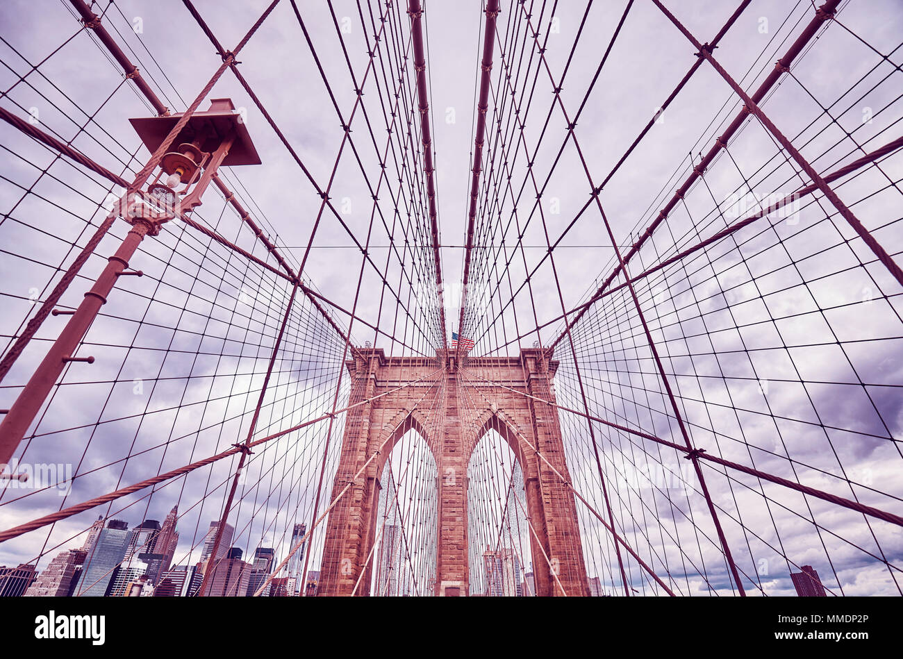 Vintage toned picture of the Brooklyn Bridge, New York City, USA. - Stock Image