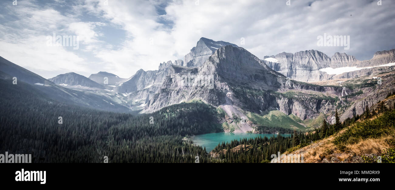 Panoramic view of Angel Wing and Grinnell Lake from Grinnell Glacier Hike in Many Glacier, Glacier National Park, Montana. - Stock Image