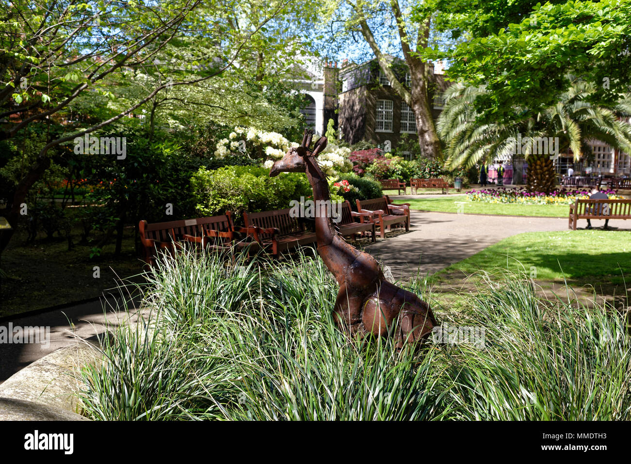 Metal Giraffe statue, modern art, in Mount Street Gardens, Mayfair, London, England - Stock Image