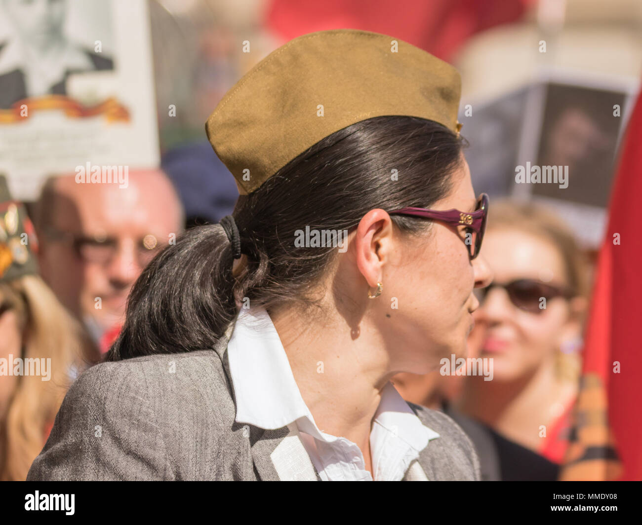 A Woman With Sunglasses In The Victory Day Parade At Westminster, London - Stock Image