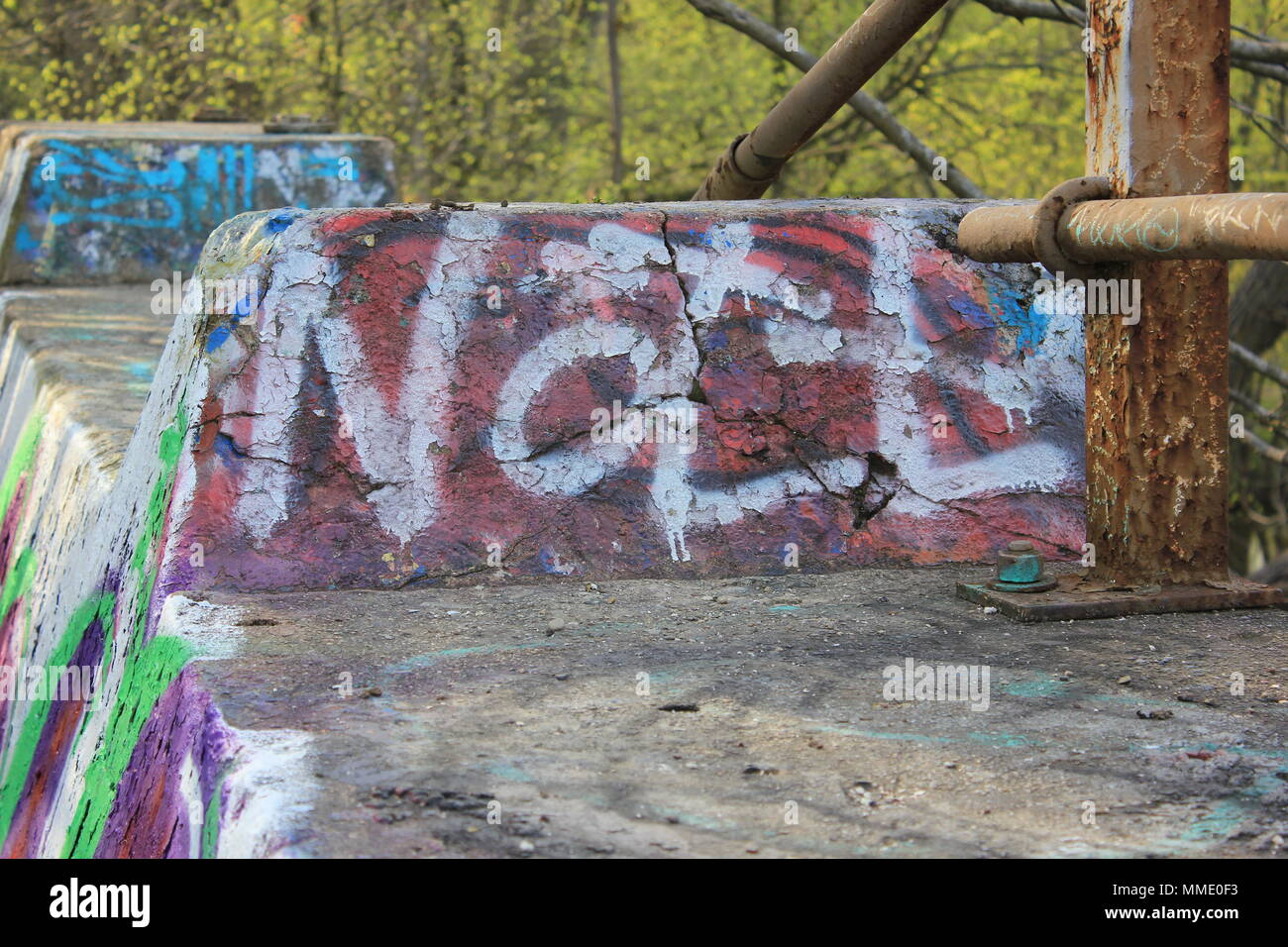 Graffiti spray-painted on The Graffiti Bridge at La Bragh woods in an inner city area of Chicago, Illinois. - Stock Image
