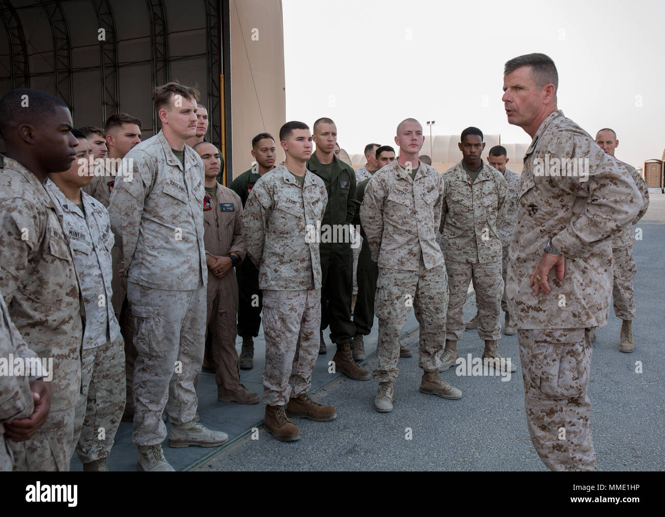 U.S. Marine Lt. Gen. William D. Beydler, commander, U.S. Marine Corps Forces Central Command, visits the Marines of Marine Medium Tiltrotor Squadron 363 (VMM-363) while in the Middle East Oct. 24, 2017. VMM-363 is a major subordinate element of Special Purpose Marine Air-Ground Task Force Crisis Response – Central Command 17.2. Beydler visited VMM-363 to listen to questions, share his guidance and discuss their daily operations. Stock Photo