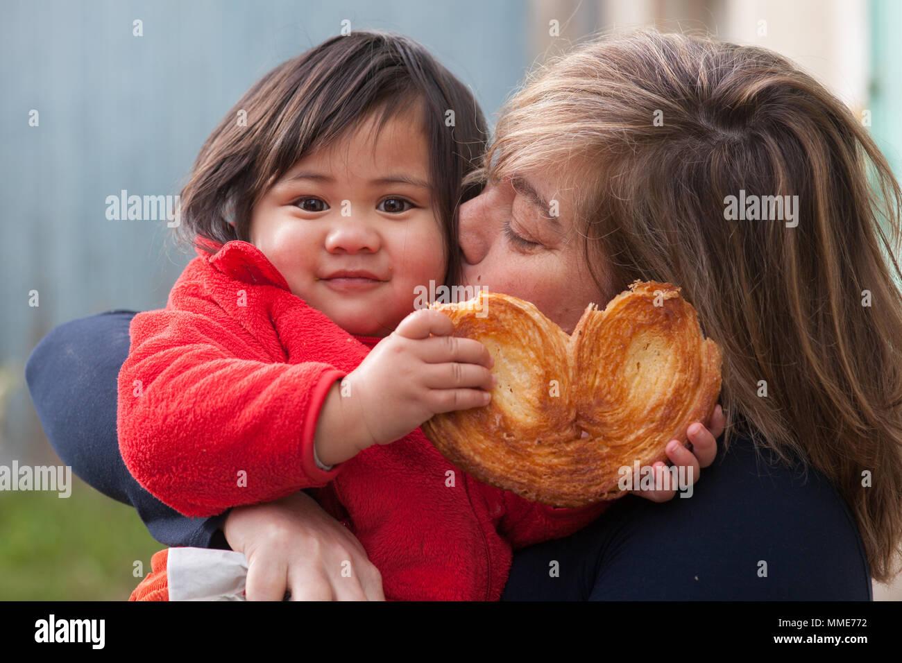 CHILD EATING - Stock Image