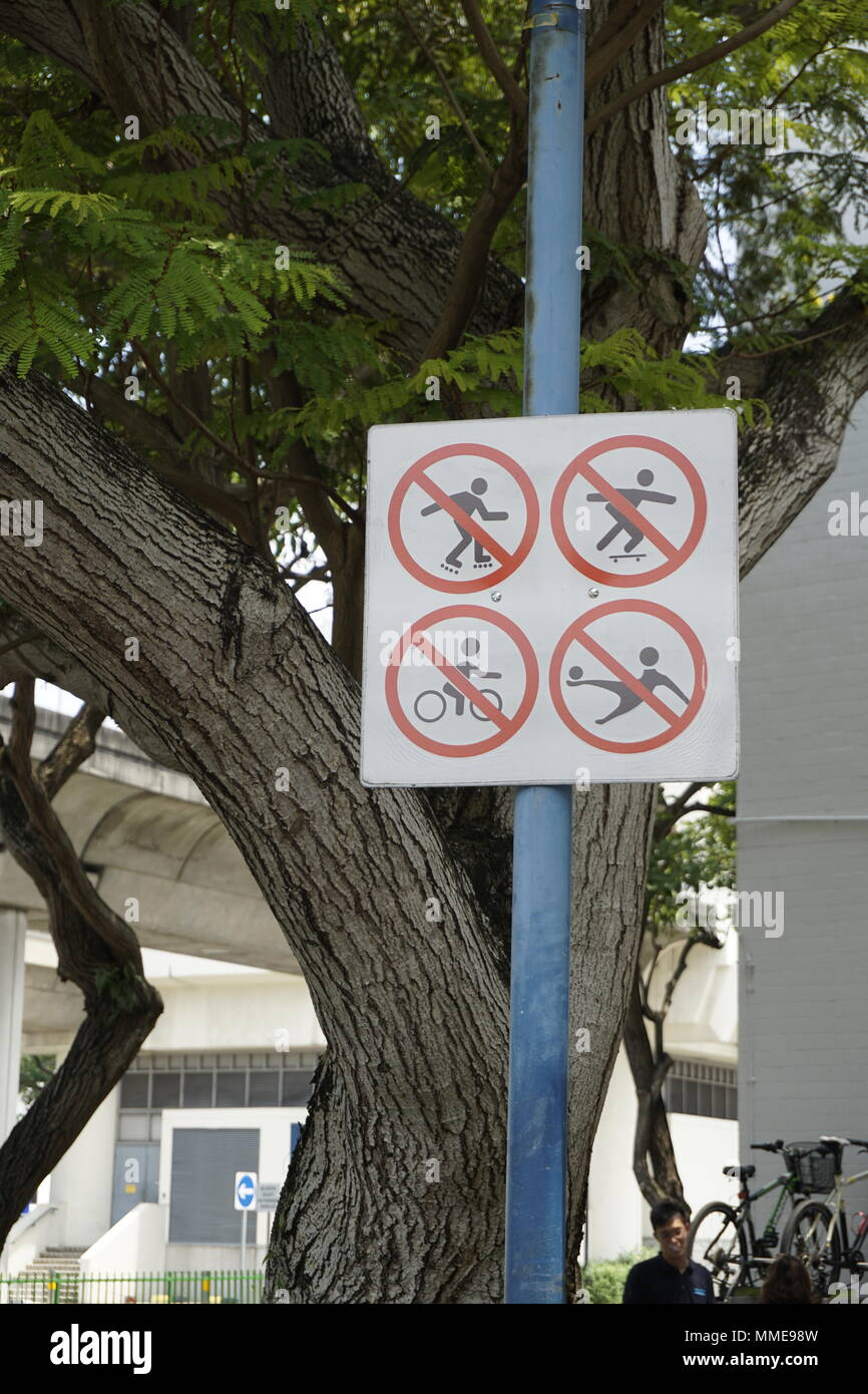 No Playing in public space signboard in Singapore - Stock Image