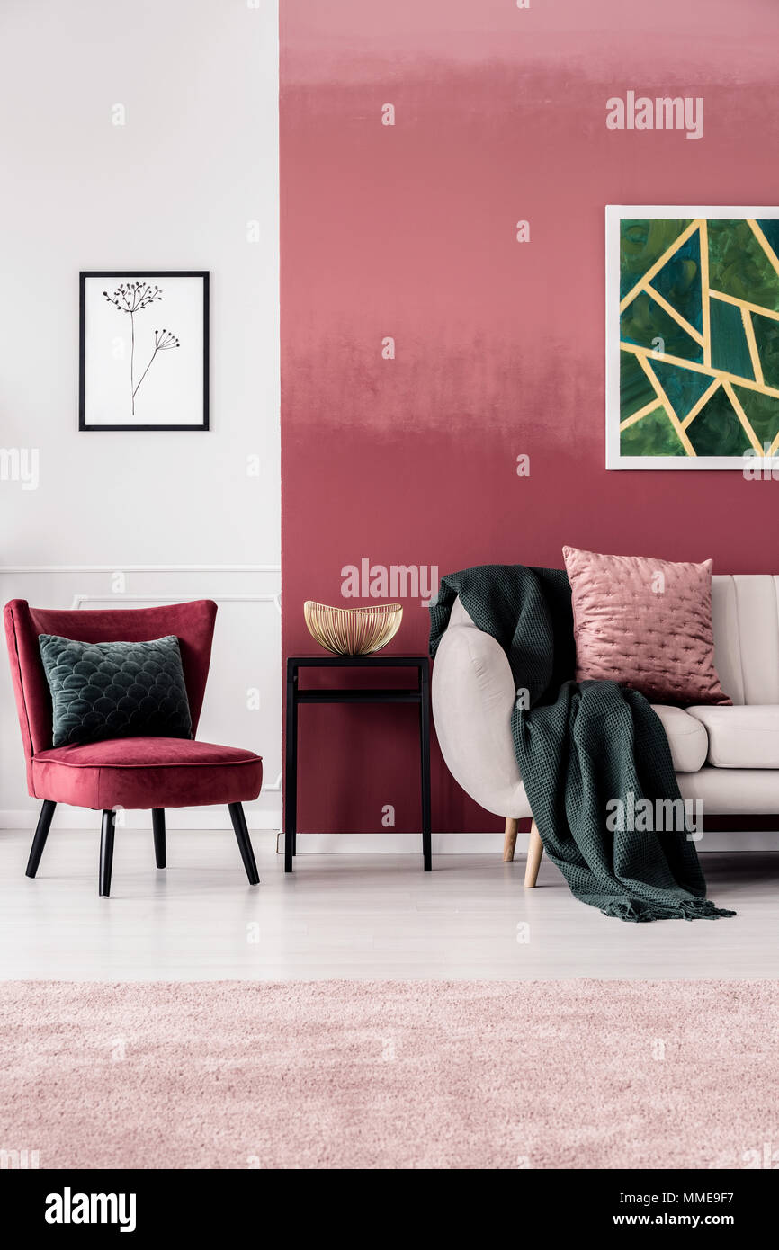 Marvelous Feminine Living Room Interior With Burgundy Armchair And Bralicious Painted Fabric Chair Ideas Braliciousco