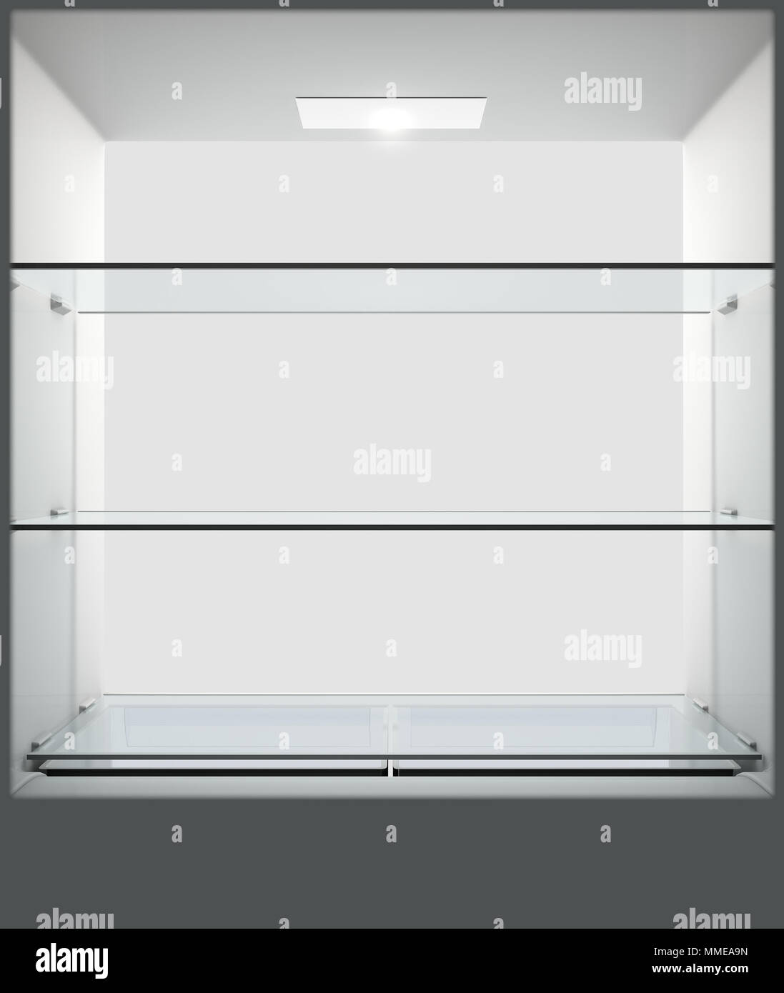 A view from inside an empty household fridge or freezer looking out the open door - 3D render - Stock Image