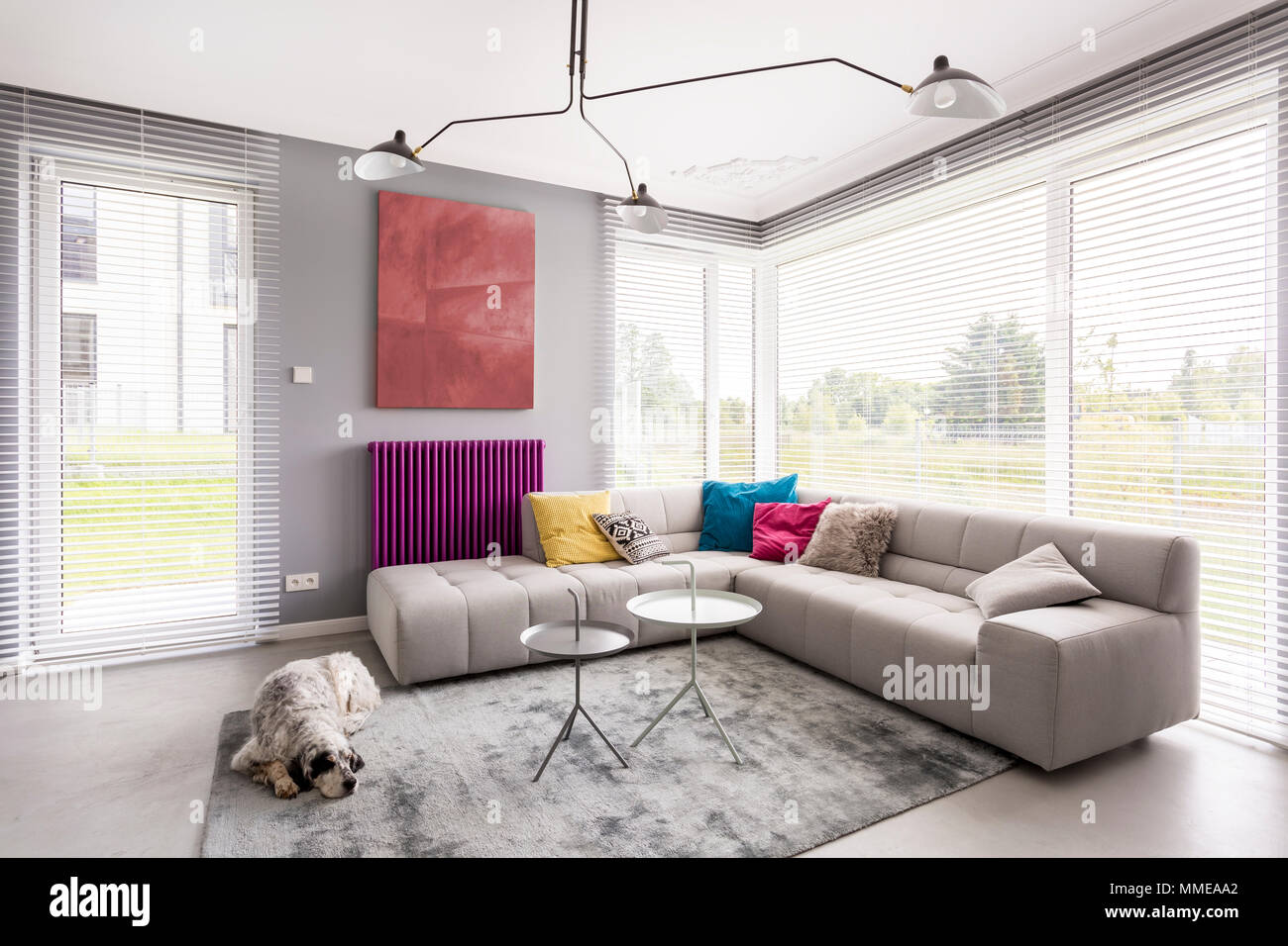 Bright modern living room with comfortable corner couch ...