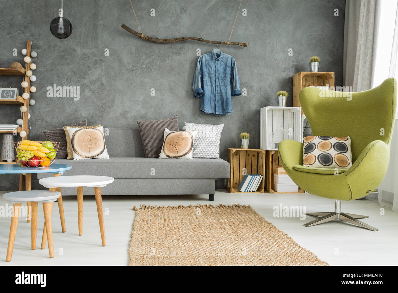 Cozy Living Room In Grey With Sofa Comfortable Armchair And