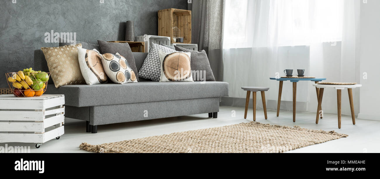 Cosy corner of a modern apartment, with a grey sofa decorated with ...