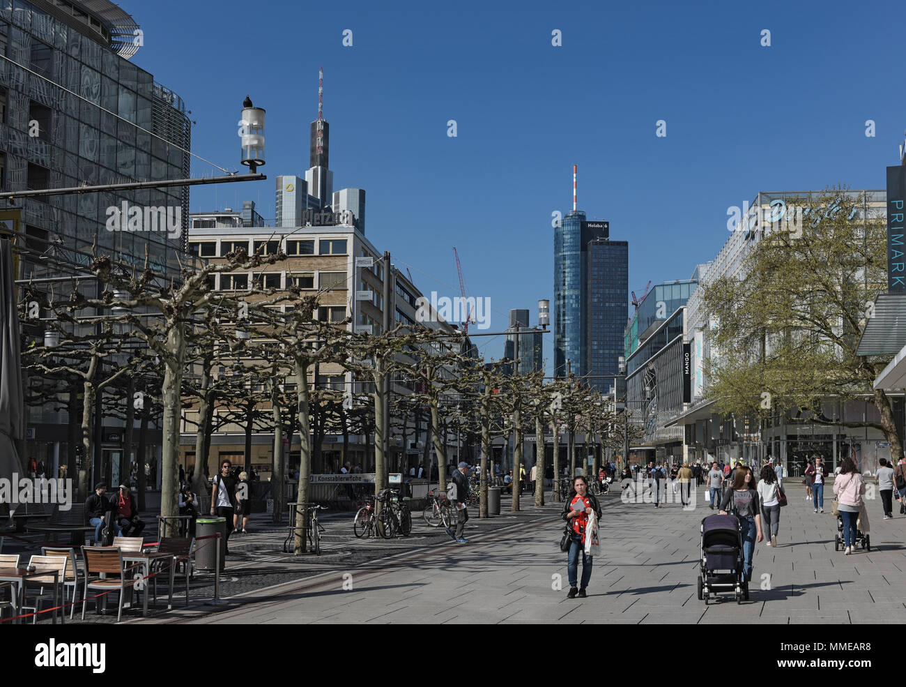 people walk in the morning on the pedestrian zone Zeil in frankfurt am main, germany - Stock Image