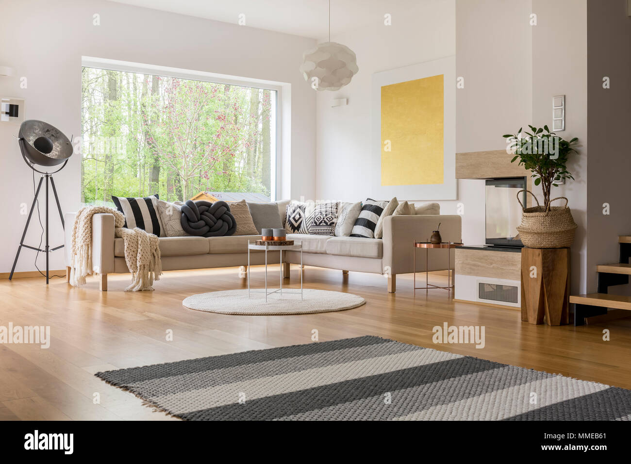 Scandinavian Style Design Of Spacious Modern Living Room With White