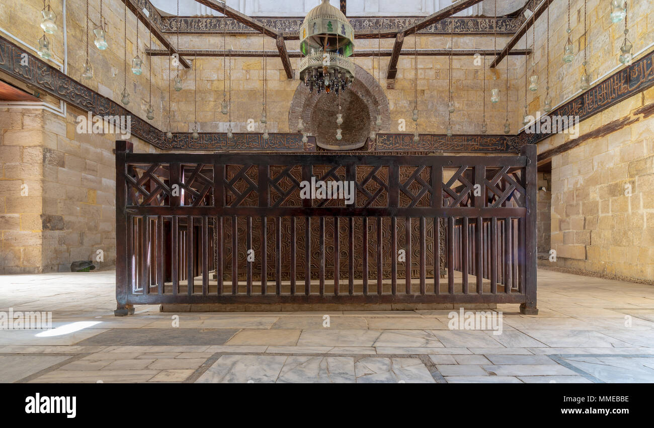 Interior of Mausoleum of al-Salih constructed by As-Saleh Nagm Ad-Din Ayyub in 1242-44, Al Muizz Street, Old Cairo, Egypt - Stock Image