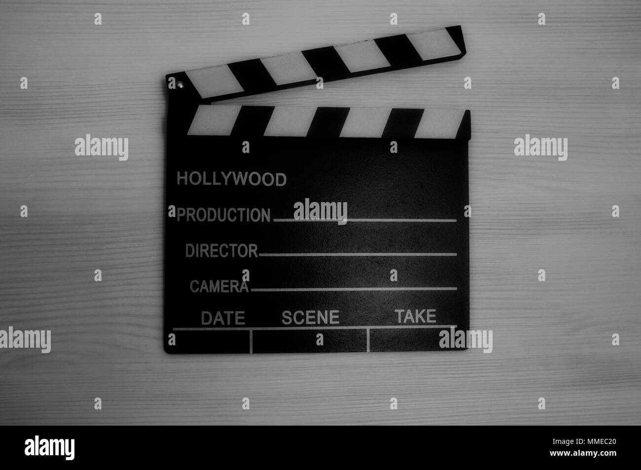 Clapboard, film production slate in black and white - Stock Image
