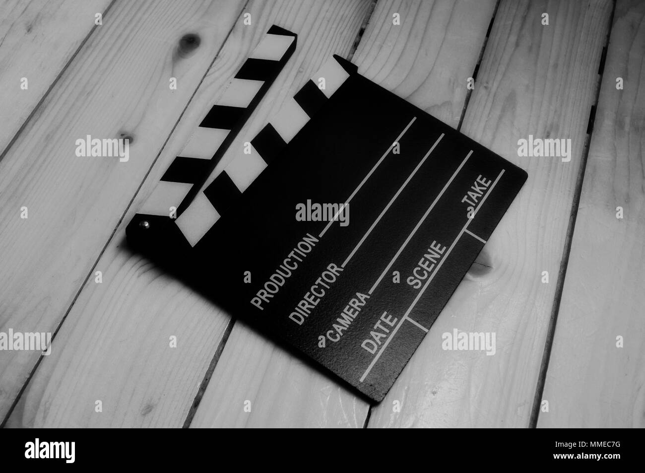 Slate, clapboard for video and film production in black and white - Stock Image