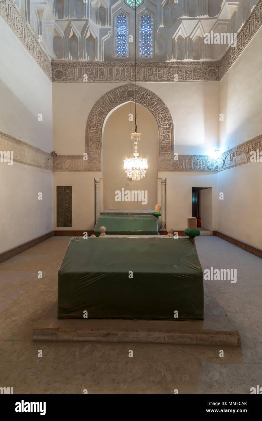 Mausoleum at Madrasa of Sunqur Sadi, part of the Mevlevi Tekke, Cairo, Egypt - Stock Image