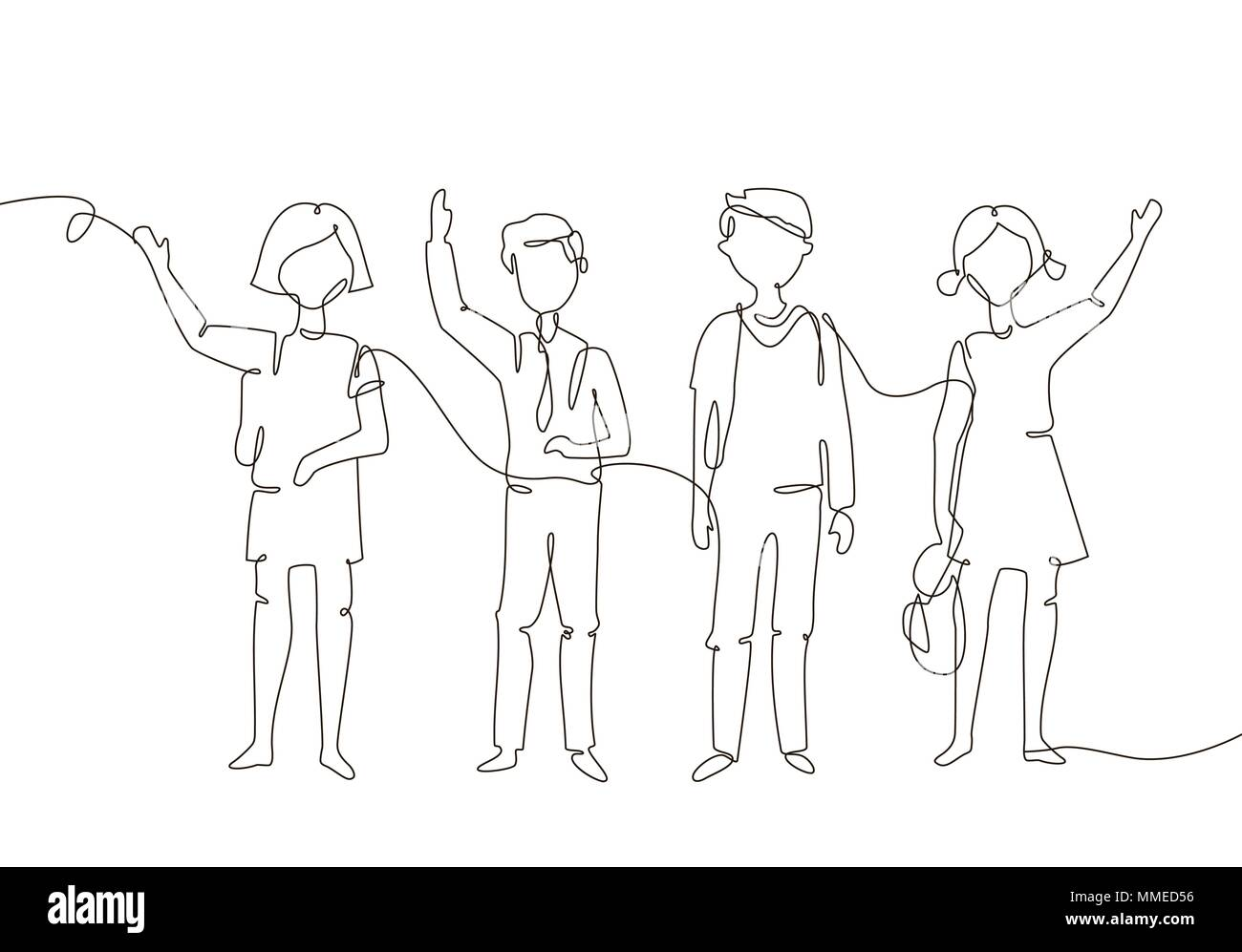 Schoolchildren - one line design style illustration - Stock Vector
