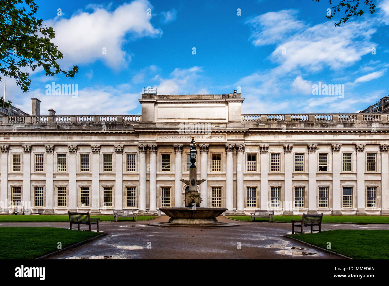 London, Greenwich. Trinity Laban Conservatoire of Music and Dance in King Charles Court. Historic Old Royal Naval College Building - Stock Image