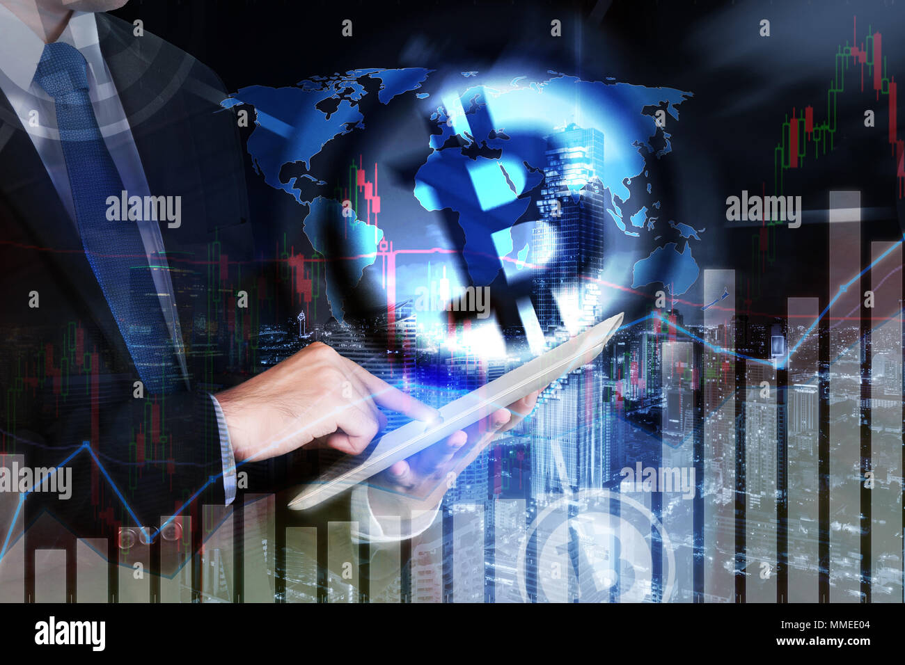 bitcoin trading exchange stock market investment, forex with trend of graph, price and candle stick chart, 3D illustration of stock crypto currency an - Stock Image
