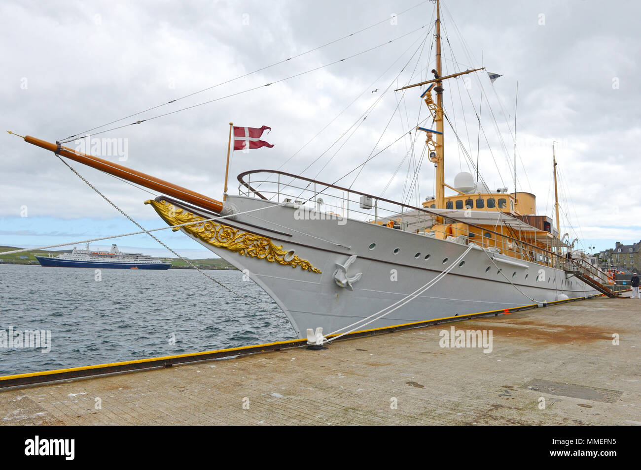 The Danish Royal boat the Dannebrog on her visit to Lerwick in the Shetland Isles Stock Photo