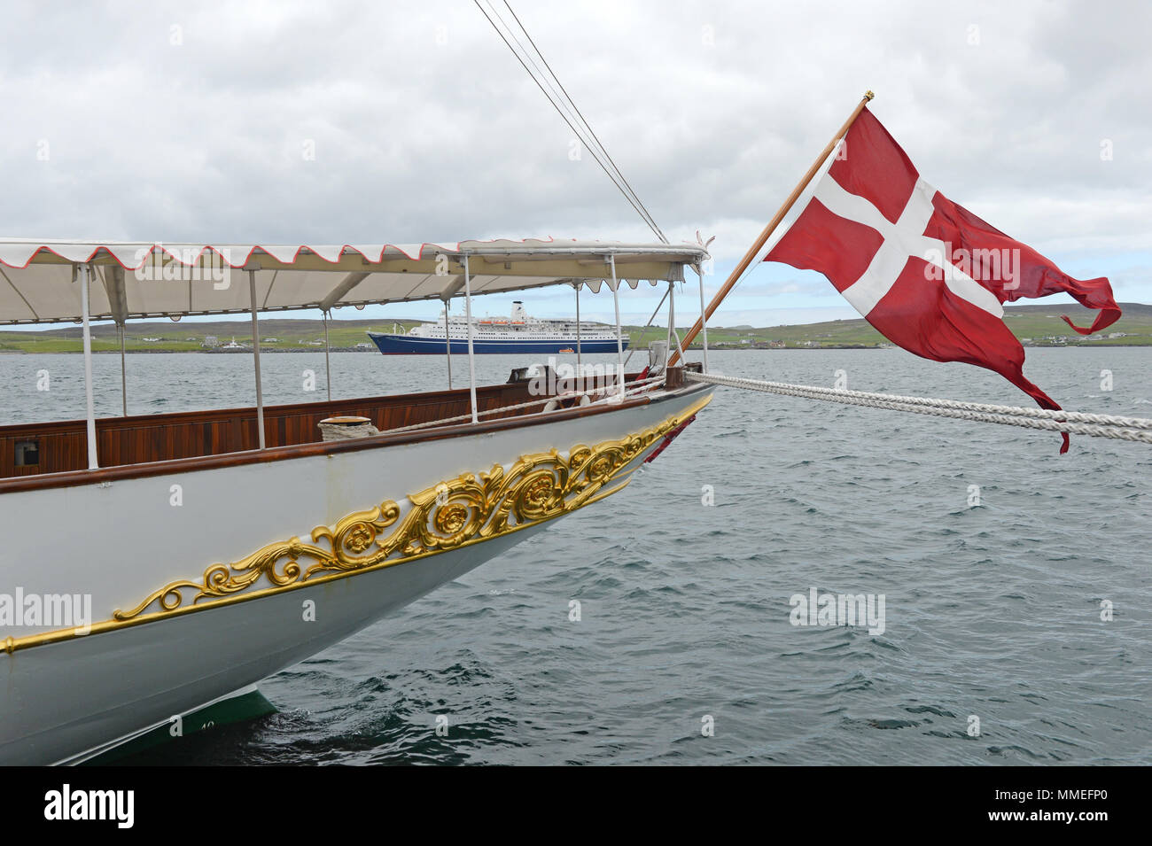 The Danish Royal boat the Dannebrog on her visit to Lerwick in the Shetland Isles - Stock Image
