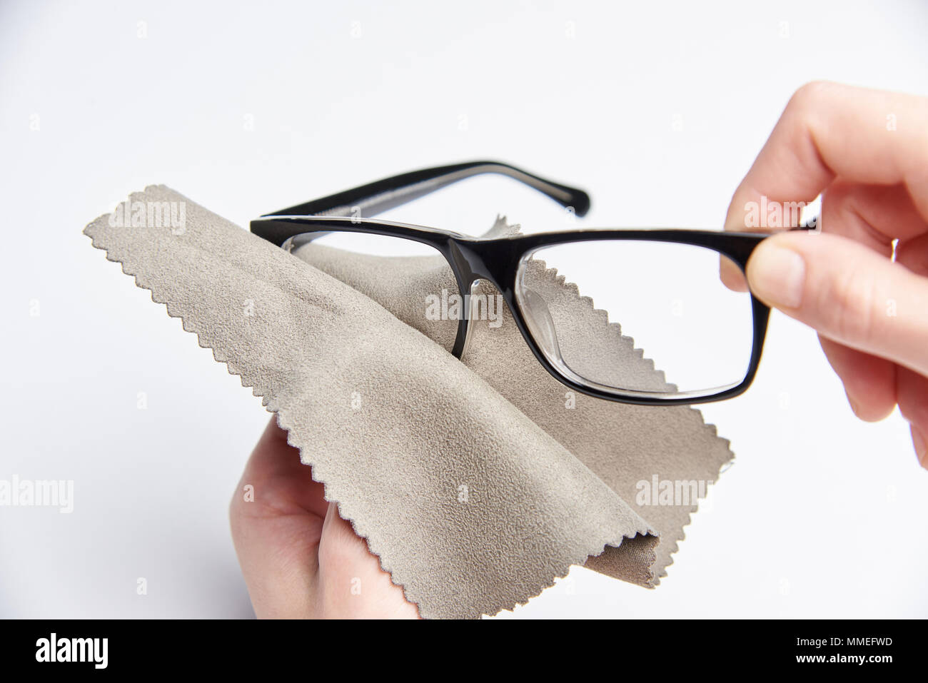 Glasses Clean Cloth Lens Spectacles Wipe Frame Hand Stock Photos ...