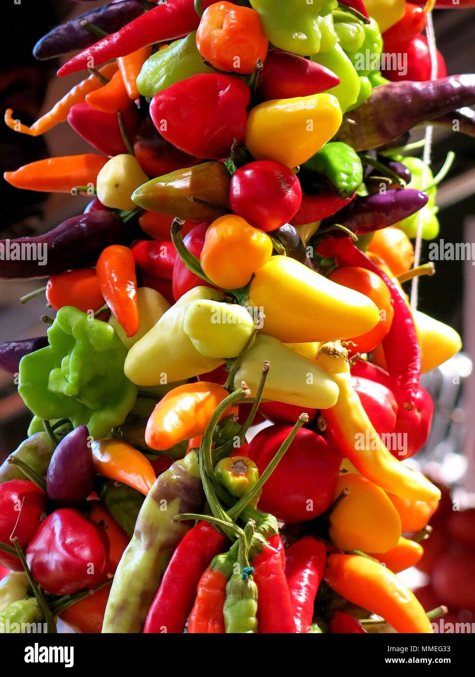 Vegetables hanging in open air market - Stock Image