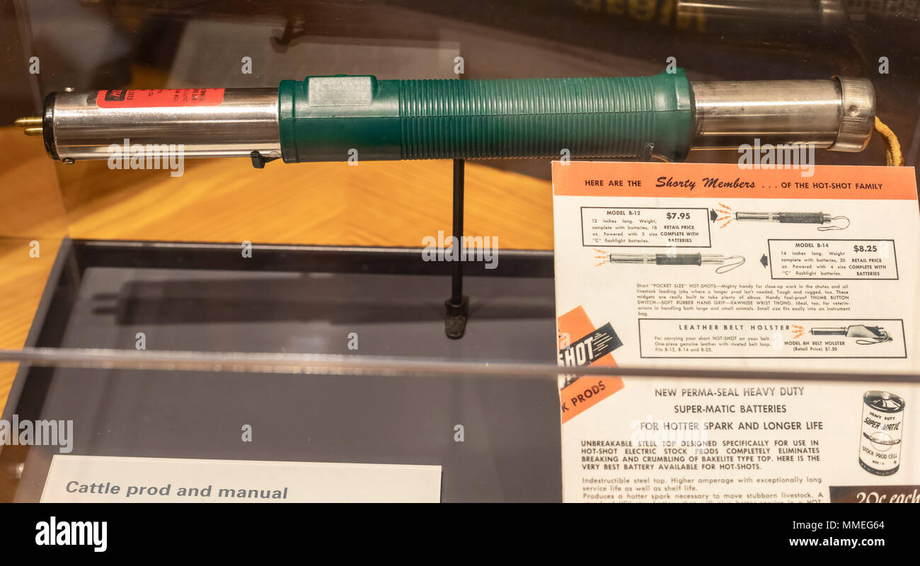 White Hall, Alabama - A cattle prod on display at the Voting Rights Trail Interpretive Center. Cattle prods were commonly used by Alabama police on ci - Stock Image